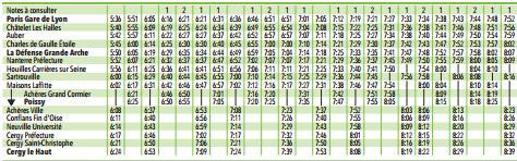 horaires RER A