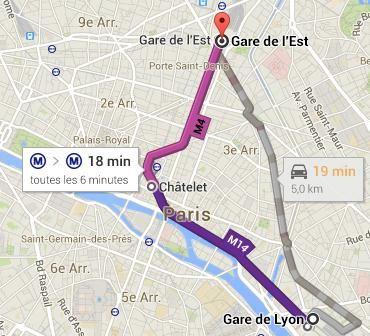 comment aller de gare d austerlitz a gare de l est